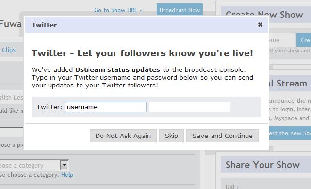 twitterアカウントを設定すると、放送開始したときなどにtwitterにpostされます