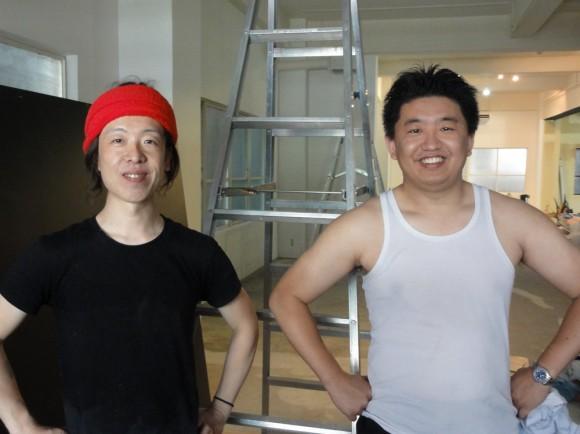 袴田工業の袴田さんと。全員汗びっしょり