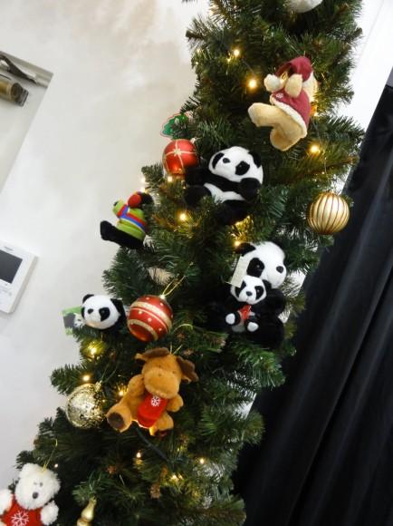 キバンのクリスマスアーチの全体像にはパンダが沢山