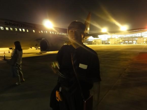 小さな飛行機で不安でした。