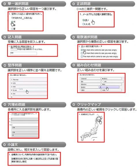 QuizCreatorの試験問題9タイプ