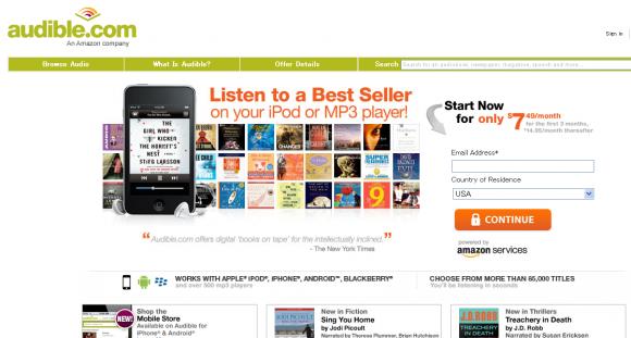 ▲オーディオブック販売サイト audible.com