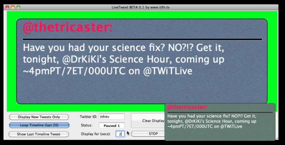 Livetweetでつぶやきが読み込まれた様子。この画面がWirecastで合成されます