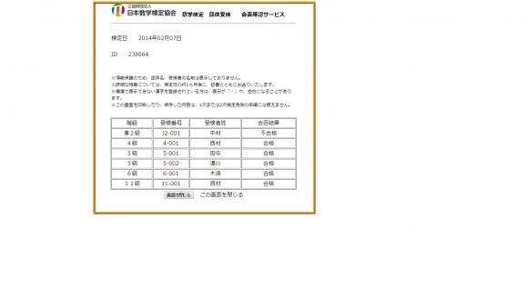 算数・数学検定 合格速報