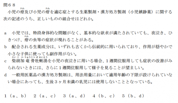 平成28年度 漢方の問題をチェック!!(問68)